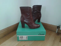 CLARKS Ladies Brown Leather Boots