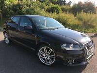 2010 10 AUDI A3 1.6 TDI S LINE 5DR IN BLACK METALLIC, GENUINE 102K MILES