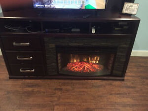 Entertainment unit (Solid wood) with fireplace **As new**