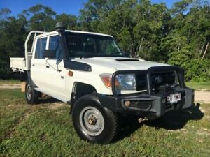 2014 Toyota Landcruiser VDJ79R MY13 Workmate Double Cab White 5 Speed Manual Cab Chassis Bungalow Cairns City Preview