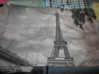 Paris themed grey double quilt cover plus 2 matching pillow cases