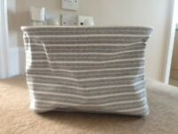 Grey and White Fabric Storage Basket with Drawstring- £2