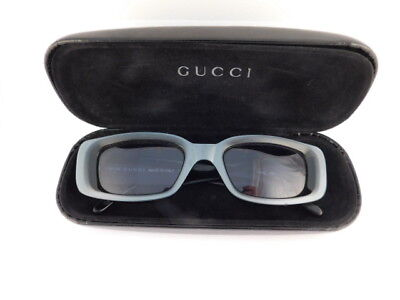 GUCCI BLUE GRAY SUNGLASSES SQUARE VINTAGE ITALY WITH CASE GG 2409/S SUPREME