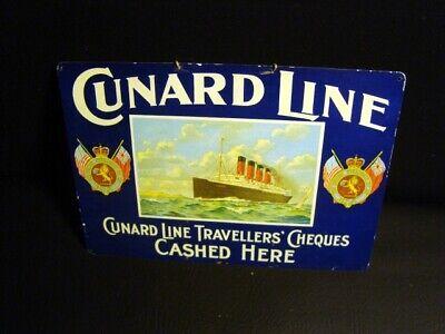 Circa 1920s Cunard Line Tin Lithographed Sign