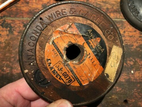 Early Vintage Anaconda Wire & Cable Co. Wood Spool of Magnet Wire