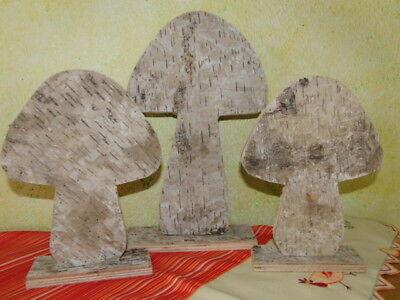 3xBirkenholz-Pilz,2 verschiedene Größen,zum dekorieren
