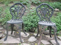 Vintage Pair of Cast Iron Garden Chairs, Roses Pattern