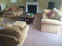 Two 3seater sofas with Matching Armchair with a Footstool