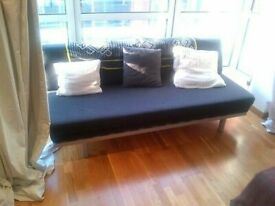 MUJI double Sofa Bed. Dark grey felt. ALMOST NEW + Gently used. Terrific Sofabed COST £750
