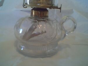 Rare Corn Pattern Oil / Kerosene Finger Lamp Pat. Feb 11, 1873
