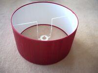 BRAND NEW large silk terracotta red lampshade drum shape 39cm diameter