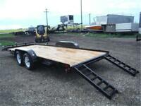 7K - 7 X 20 FLATBED CAR HAULER - RADIAL TIRES, RAMPS - TAX IN
