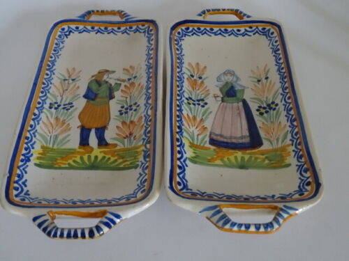 VINTAGE TWO SMALL PLATER FRENCH HENRIOT QUIMPER circa 1930s