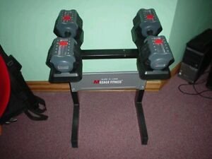Mileage adjustable dumbbells 5lbs - 55lbs with stand