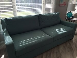 """MOVING SALE!!  Large """"Tiffany Blue"""" Couch for Sale."""