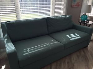 "Large ""Tiffany Blue"" Couch for Sale."