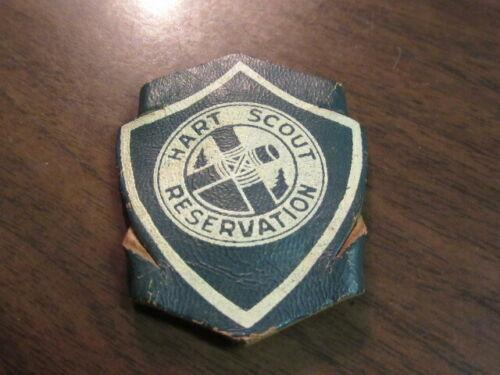 Hart Scout Reservation Shield Design Leather Neckerchief Slide     c30
