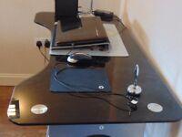 Computer desk, black glass, top length 1.30m