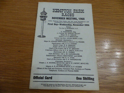 1968 Kempton Park racecard featuring Fred Winter runners