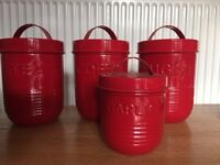 Tea, Coffee & Sugar & garlic Canisters (M&S) RED