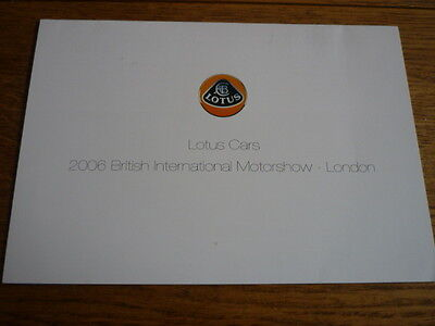 LOTUS ELISE S, ELISE R, EXIGE, EXIGE S AND EUROPA 'S' MOTOR SHOW BROCHURE 2006