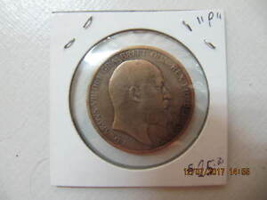 Vintage 1902 Large British King Edward One Penny Excellent Cond!
