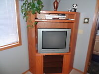 Oak TV and Media Stand