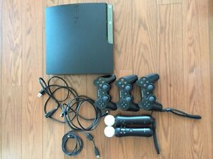PS3 160G, 3 controllers, 2 Move controllers, 36 games - $200