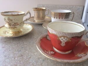 Tea cups & saucers - 4 sets - UK fine bone china $5ea or 4-$18