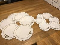 Vintage Linen Placemats & Coasters (or small & large cake doilies)