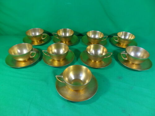 1-Pickard Rosenthale Gold Daisy Rose Pattern Cup & Saucer Set Selb-Bavaria AIDA