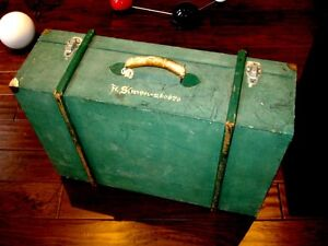 Simon WOOD SUITCASE military VINTAGE great piece LEATHER HANDLE