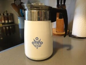 "Vintage Corning Ware ""Cornflower Blue"" 6 cup coffee percolator"