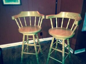 Solid Oak Bar Chairs/Stools
