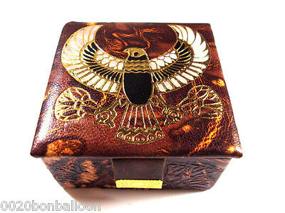 "Egyptian 3"" Handmade Falcon Horus Genuine Leather Jewelry Box Pharaoh Ethnic 221"