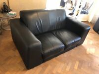 Genuine Italian Black Leather 2 Seater Sofa