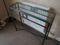 Lovely black metal compact console table, glass top, storage shelf, laptop desk, pet/smoke free home