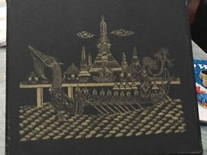 2 Thai ART PAINTING ON SILK