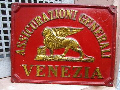 GENERALI ASSICURAZIONI VENEZIA  geprägtes Blechschild