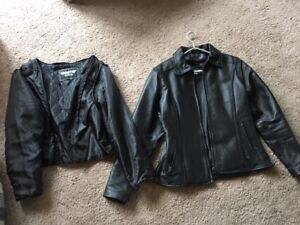 Motorbike leathers, jacket and chaps