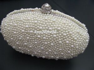 Ivory / Creamy ~Handmade Pearl~ New Bridal/Evening Clutch Bag**Free shipping**