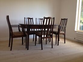 Dining table and chairs - dark hardwood