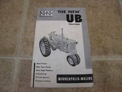 Vintage Minneapolis Moline Ub Tractor Sales Brochure Mm