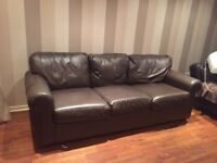 Free Leather Sofas x 2 not a matching pair both dark brown leather Collection only.