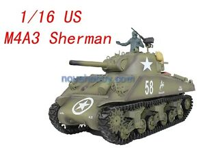 1/16 RC Henglong Smoke&Sound USA Sherman M4A3 105mm Gun Tank Metal Gear Version