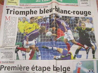 LA FRANCE CHAMPIONNE DU MONDE DE FOOTBALL : 13/07/1998