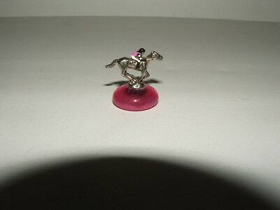 AFFIRMED MINIATURE FIGURINE HORSE RACING JOCKEY SILKS PINK MARBLE BASE ()
