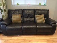 Brown leather recliner sofas 2 and 3 seater