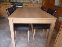 Oak Veneer Table & 4 Leather Chairs