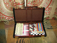 Backgammon Board Game With Leather Carrying Case